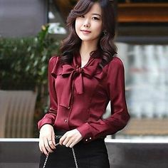 New Fashion Bow Blouses Cotton Women Shirts Vintage V-Neck LadiesTops Blusas Long Sleeve Femme Clothing Korean Formal Shirt Moda Outfits, Outfits Mujer, Cotton Blouses, Shirt Blouses, Chiffon Blouses, Formal Tops, Casual Tops, Cheap Womens Tops, Cute Work Outfits
