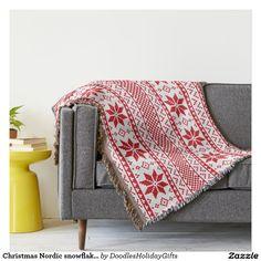 Christmas Nordic snowflake pattern throw blanket
