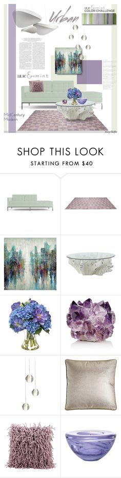 """Color Challenge: Lilac & Mint"" by mcheffer ❤ liked on Polyvore featuring interior, interiors, interior design, home, home decor, interior decorating, Joybird Furniture, Aurelle Home, Jayson Home and Diane James"