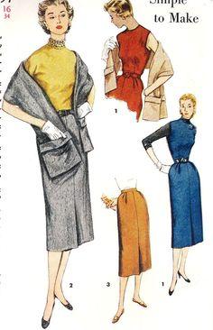 1950s Misses' Dress Jumper Skirt and Stole by MissBettysAttic, $12.00