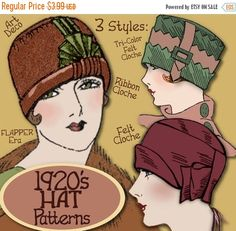 1920s Patterns – Vintage, Reproduction Sewing Patterns SEW 3 Vintage 1920s FLAPPER Cloche Hat vintage e-Patterns (Lillie Set) pdf $3.39 AT vintagedancer.com