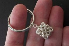 I love how small the box is. Silver Cube Key Ring  Unisex  Chainmaille by DeChampDesigns