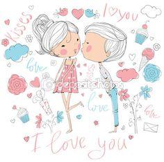 Романтический понятие. Любящий мальчик и девочка целовать. Милый мультфильм векторные иллюстрации