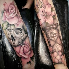 Watercolor tattoos - watercolor tattoo flowers sleeve designs for woman @thomas_sidney_art at Soular Tattoo - Christchurch - New Zealand