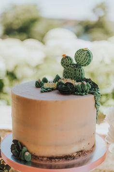 Cactus Cake from a Chic Backyard Graduation Party on Kara's Party Ideas   KarasPartyIdeas.com (16)
