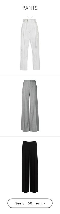 """PANTS"" by ariellegoosenberth ❤ liked on Polyvore featuring pants, trousers, bottoms, patent leather pants, straight leg pants, white pants, white trousers, straight leg trousers, grey and palazzo pants"