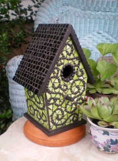 Mosaic birdhouse  fresh & funky green by DumpsterBunnyDesigns, $52.00