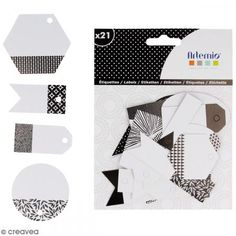 Die cut Artemio - Etiquetas Black & White - 21 pcs - Fotografía n°2