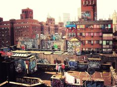 Roof top graffiti in Chinatown, New York City.