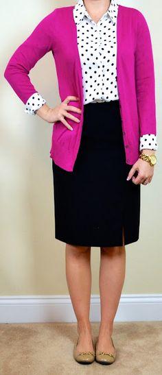 polka-dot blouse, pink cardigan, black pencil skirt