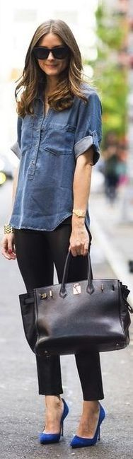 olivia palermo chic street style // love the denim paired with blue heels. Such a Fashionista Look Fashion, Street Fashion, Winter Fashion, Fashion Shoes, Girl Fashion, Spring Fashion, Fashion Couple, 50 Fashion, Office Fashion