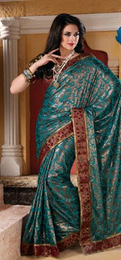 #Blue #Saree £50.00. For full product information http://www.reevaonline.co.uk/sarees/blue-faux-georgette-saree-with-blouse-fabric-175.html
