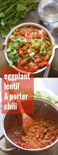 This hearty vegan porter chili is made with with eggplant chunks, lentils, and red bell peppers simmered in a spicy beer-infused tomato base.