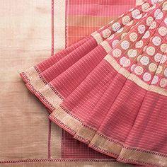 Handspun and Handwoven Khadi Cotton Sari available in Pink, Gold Colour Zari