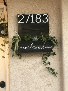 Fake Plants Decor, Plant Decor, Curb Appeal Porch, Front Porch Planters, Wooden Planter Boxes, Front Door Decor, House Numbers, Flower Boxes, House Front