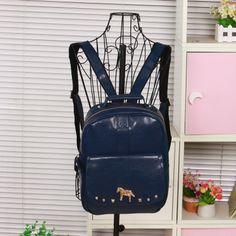 Preppy style backpack student school bag PU backpack women's handbag rivets backpack casual vintage bag