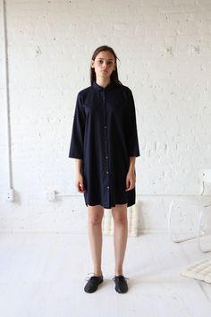 $460 Gallego Desportes Peter Pan Collar Wool Dress Navy