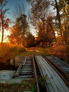 Old railroad tracks near the grist mill in Townsend, MA.