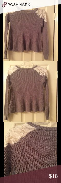 Hollister Knit & Lace Sweather Sage green long sleeve sweater with flare bottom and lace inserts at shoulders, 100% cotton; lace 96% nylon, 4% elastase. Hollister Sweaters Crew & Scoop Necks