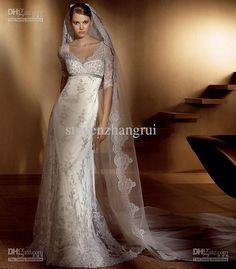 2012 Lace Vintage Wedding Dresses Gorgeous Long Sleeves V-Neck Sheath Bambu Bridal Gown Sweep Train