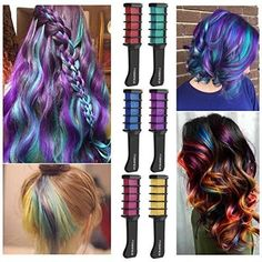 Temporary Hair Shimmer Color Cream for All Ages, 6 Colorful Hair Chalk Combs. Temporary Hair Shimmer Color Cream for All Ages, 6 Colorful Hair Chalk Combs. Temporary Hair Shimmer Color Cream for All Ages, Hair Color Cream, Hair Color Purple, Brown Hair Colors, Green Hair, Different Hair Colors, Underlights Hair, Temporary Hair Color, Hair Chalk, Hair Wax