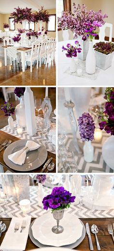 if you did light purple linens, we could always do the chevron gray and white runners :) traditional and modern at the same time :)