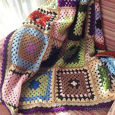 Traditional granny square blanket
