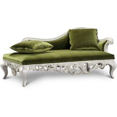 Claudette Chaise Lounge Sofa - Green ($1,198) ❤ liked on Polyvore featuring home, furniture, sofas, green furniture, claudette, green sofa and green couch