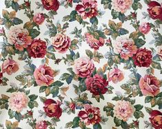 Interior Fabric Design Vintage Heavy Upholstery Fabric English Roses Yard NOS English Roses, Farmhouse Design, Green Velvet, Vintage Roses, Surface Pattern, Fabric Design, Upholstery, Floral Prints, Tapestry