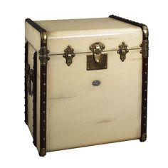 Authentic Models Stateroom Trunk End Table in Ivory with Honey