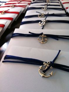 envelope finishing for nautical themed, christening invitation boys