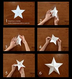 Como fazer estrela – Passo a passo com fotos – How make a star- DIY tutor… How to make star – Step by step with photos – How to make a star- DIY tutorial – Madame Criativa – www. Kids Crafts, Ramadan Crafts, Ramadan Decorations, Birthday Decorations, Diy And Crafts, Christmas Decorations, Origami Paper, Diy Paper, Paper Crafts