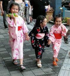 little girls during the Yukata Festival