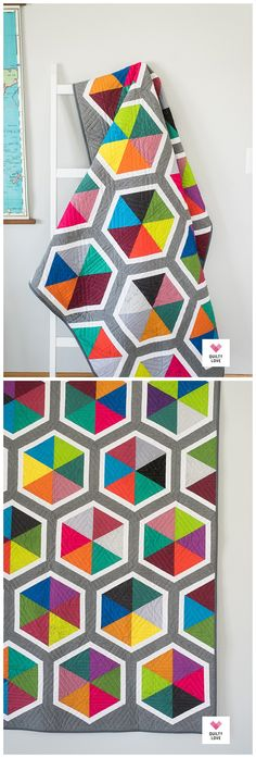 Triangle Hexies Quilt - The Spectrastatic one - Quilty Love. Modern hexie quilt uses a rainbow of fat quarters by Andover Fabrics. Quick and easy hexie quilt pattern. Triangle Quilt Pattern, Hexagon Patchwork, Half Square Triangle Quilts, Triangle Quilt Tutorials, Modern Quilt Blocks, Quilt Blocks Easy, Modern Quilting Designs, History Of Quilting, Rainbow Quilt