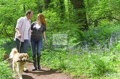 Couple and dog walking in forest among bluebell flowers Stock Photo