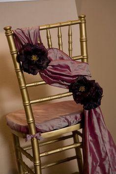 Wedding, Reception my colors:Orange, Purple, Gold, Inspiration - Project Wedding Wedding Chair Decorations, Wedding Chairs, Wedding Table, Wedding Reception, Wedding Ideas, Chair Ties, Chair Sashes, Chair Backs, Purple Chair