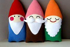 Items similar to Plush Gnomes Set Of 3 - Bearded Moustache Dwarf Soft Toy Plushie - Elf Stuffed Cushion - Santa Doll Pillow Softies - Baby Nursery Decor Gift on Etsy Softies, Plushies, Santa Doll, Baby Nursery Decor, Felt Fabric, Felt Ornaments, Diy Toys, Handmade Toys, Felt Crafts