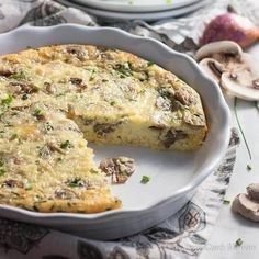 Easy crustless mushroom quiche with perfect custard texture & nice rich flavor. Great for breakfast or a nice lunch with a friend. Low carb recipe.