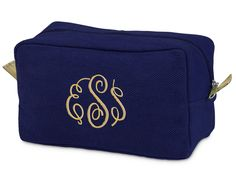 Navy Monogrammed Durry Cosmetic Bag