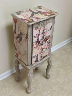 Upcycled Vintage Jewelry Box Decoupage Furniture Jewelry