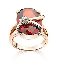Amber Crystal Gold Plate Ring