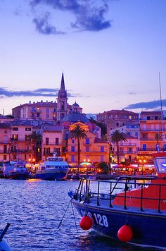 Calvi, Corse:  le Port le soir, l'église Sainte-Marie Majeur, Corsica,France