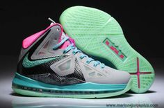 Discounts Wolf Grey/New Green-Pink Shoes Womens Nike Lebron X