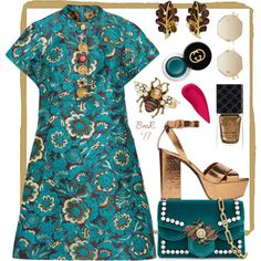 A fashion look from November 2017 featuring Dolce&Gabbana dresses, Yves Saint Laurent sandals and Gucci shoulder bags. Browse and shop related looks.