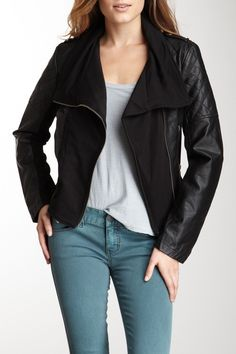 Quilted Pleated Cascade Moto Jacket by BNCI by Blanc Noir on @nordstrom_rack