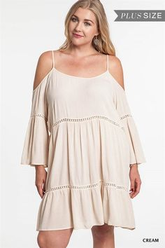Take Me To The Country Boho Peasant Mini Dress Cold Shoulder Natural Plus Size XL 1XL 2XL