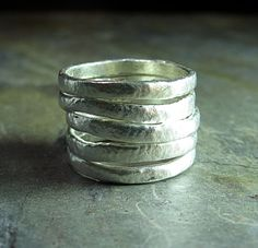 Summerlight - set of 5 textured stacking rings in pure silver     ...from Lavender Cottage on Etsy