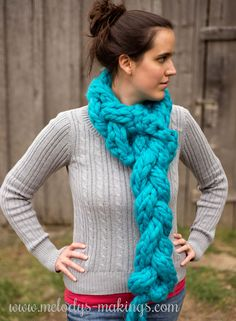 Free One Hour Braided Scarf Pattern!  Comes in both a knit and a crochet version.  This super scarf is quick and fun to make!