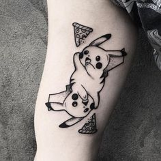 Show this to a friend that plays #PokémonGo  #Pikachu by @oliwia_daszkiewicz  Tag us in your pizza tattoos: @pizzatattoos #pizzatattoos