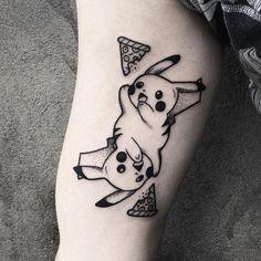 Show this to a friend that plays #PokémonGo  #Pikachu by @oliwia_daszkiewicz  Tag us in your pizza tattoos: @pizzatattoos #pizzatattoos